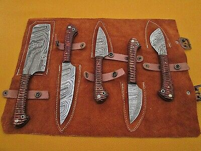 """5 piece Kitchen knife set, Brow jigged scale, Overall 42"""" long,suede roll sheath"""