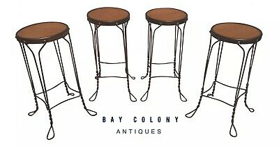 20Th C Antique Set Of 4 Wrought Iron & Walnut Ice Cream Parlor Stools ~ Clean