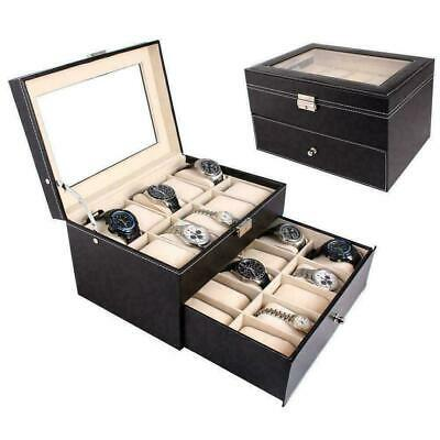 20 Grids Faux Leather Watch Case Display Box Collection Storage Bracelet Holder