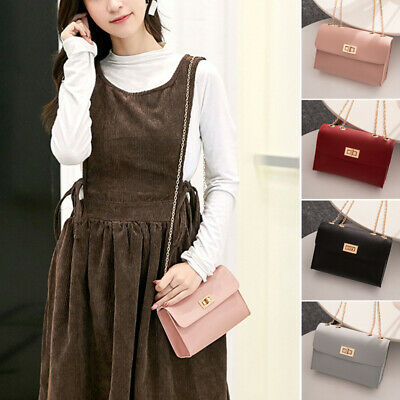 Fashion Simple Women Lady Small Square Bag Handbag PU Leather Chain Shoulder Bag