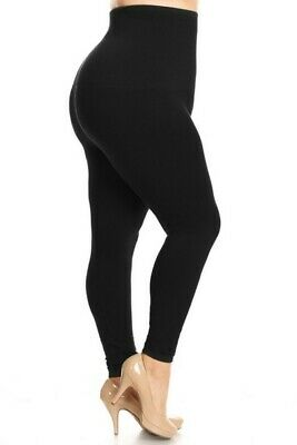 Yelete Legwear High Waist Compression Leggings, French Terry Lining, Plus Size