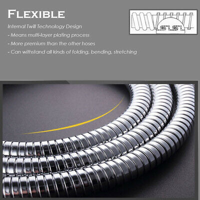2M Shower Head Hose Extra Long 6.5FT Stainless Steel Hand Held Bathroom Flexible
