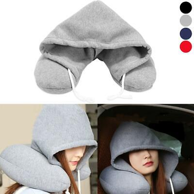 Travel Hooded Pillow Cushion Car Office Airplane Head Rest Neck Support US Shape