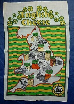 Vintage ENGLISH CHEESE Linen Tea Towel 1970s ADVERTISING