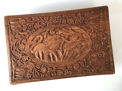 Vintage Anglo Indian Hand Carved Wooden Storage Box with Hunting Motif - Rare