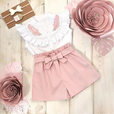 AU Baby Girl Summer Button Tops Shirt Pants Short Outfit Toddler Kid Clothes Set