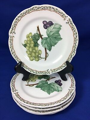 NORITAKE Primachina ROYAL ORCHARD Fruit Design BREAD PLATES Set of 5  #A