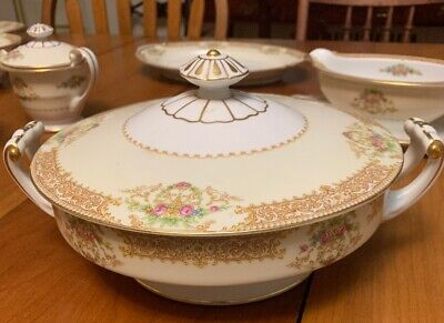 Noritake Occupied Japan China Large Covered Bowl 8 1/4 Inch Wide Gold Trim