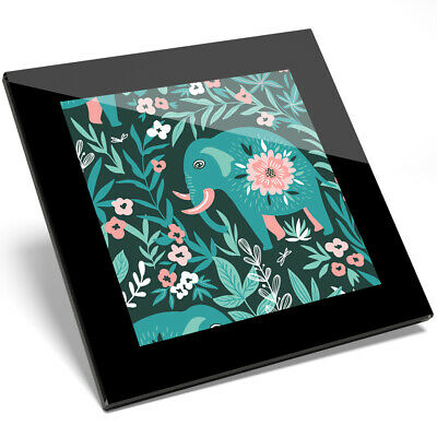 Pretty Green Elephants Coaster Flowers Jungle Mum Auntie Sister Gift #14472