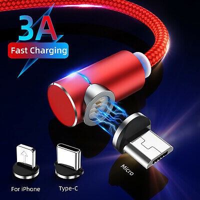 90 Degree Magnetic 3A Type C Micro USB Fast Charger Cable For iPhone Samsung LG