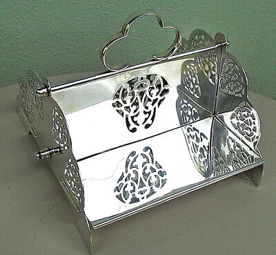 ANTIQUE SILVER PLATED SANDWICH STAND SERVING DISH c.1910