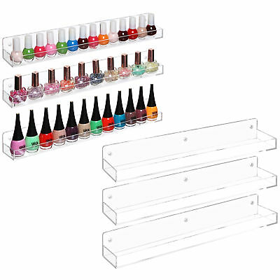 Wall-Mounted Clear Acrylic Nail Polish oil Floating Shelving Rackr, Set of 6