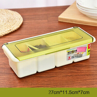 Plastic Spice Condiment Box Kitchen Spice Seasoning Storage Container with Spoon