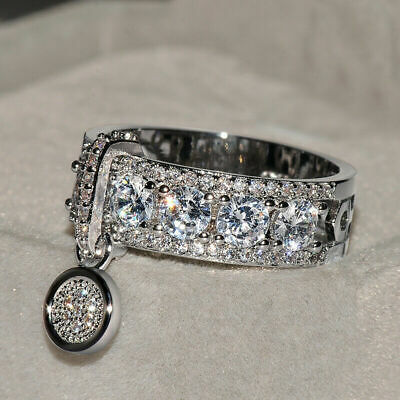 Gorgeous Round White Sapphire Engagement Ring 925 Silver Wedding Jewelry Size 8
