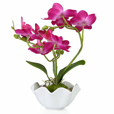 Decorative Artificial Silk Phalaenopsis Orchid Flower with White Vase, Purple