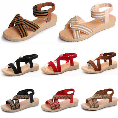 WOMENS SANDALS Open Toe Comfort Slingback Wedge Rome Strap Flat Beach Shoes Size