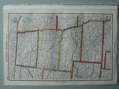 1952 Map ~ United States Central States West South Dakota Nebraska Kansas