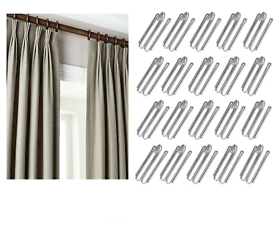 Metal PINCH PLEAT CLIPS Galvanized Curtain Tape Deep Clip Prong Goblet Hooks UK
