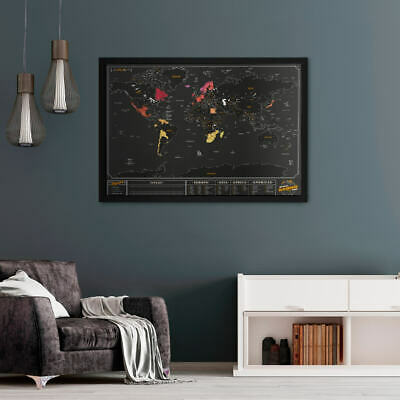 Coloured Travel Map Poster World Chalk Scratch Off Pen Learn Art Globe Countries