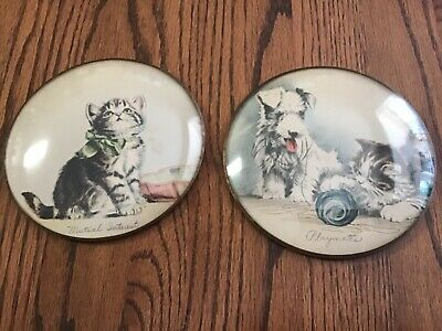 Pair of vintage Convex Bubble Glass round Peter Watson Studio Pictures / Kittens