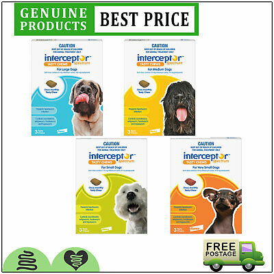 Interceptor Spectrum for Dogs All Sizes 3 Doses Heartworm Worm Treatment