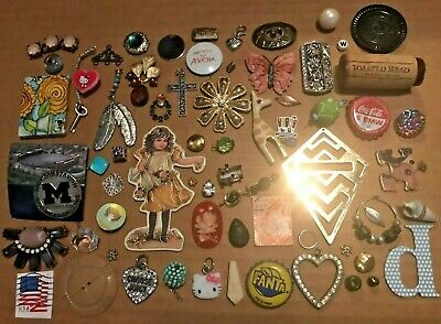 65+ VINTAGE Jewelry LOT Trinkets Charms Craft Junk Drawer BUTTERFLY Michigan