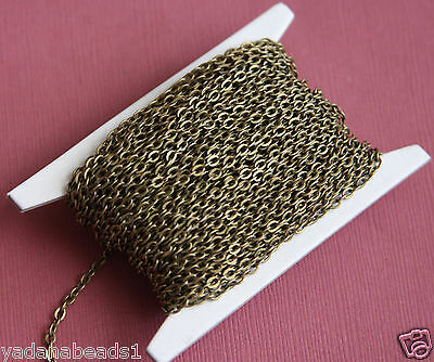 45ft of Antiqued Brass flat Cable Chain 2mm x 3mm