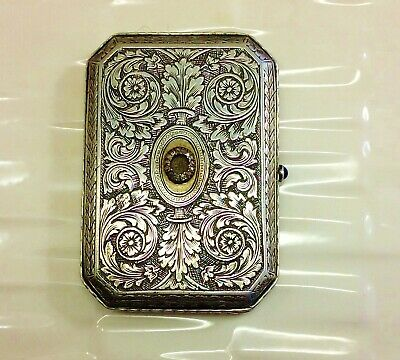 RUSSIAN antique 84 Silver Cigarette Case Snuff BOX with Diamonds and sapphir