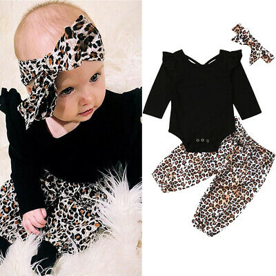 AU Toddler Kids Baby Girl Romper Leopard Pants Trousers Outfit Clothes Headband