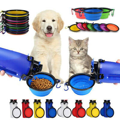 Portable Travel Pet Dog Food Water Drinking Dual-Use Bottle & Foldable Pet Bowls