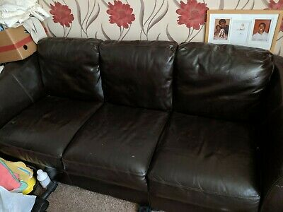 GENUINE ITALIAN PENDRAGON pair of matching two 3-Seaters leather ...