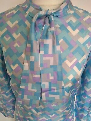 Vintage 60s Shift dress pussy bow pastels blue lilac 12 14 Tricel Geo mod retro