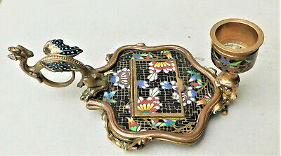 NO RESERVE c1910 Brass & Champleve Enamel Candlestick Chamberstick Griffin