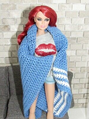 #110 Crochet Blue/White Throw Blanket FOR/FITS Barbie,Fashion Royalty Doll