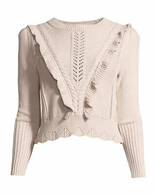 Rebecca Taylor Cable Knit Ruffle Trim Cotton Pullover Sweater Size M SPRING New