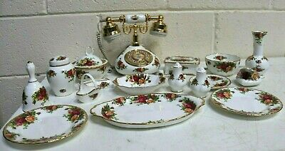 Royal Albert Old Country Roses 19 Piece Set Telephone, Dishes, Jars, Vases - 213