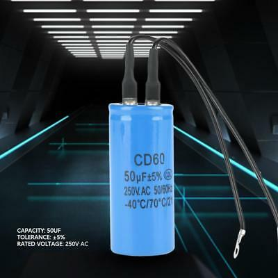 CD60 Run Capacitor with Wire Lead 250V 50uF 50/60Hz For Motor Air Compressor FZ