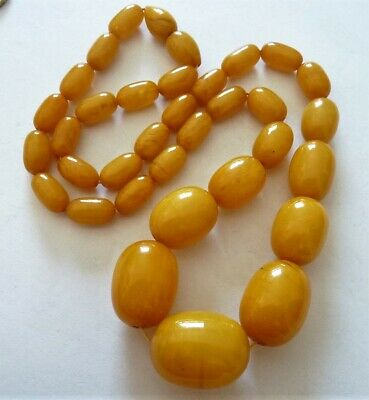"Antique ""Amber Eggyolk"" Bakelite Faturan Beads Neklace Perle Collier Ancien"
