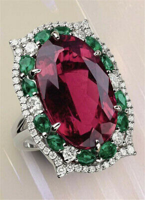 925 Silver Huge Ruby Emerald White Topaz Ring Wedding Jewelry Size 6-10