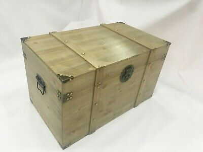 Hand made wooden trunk L53 X H27 X W29cm