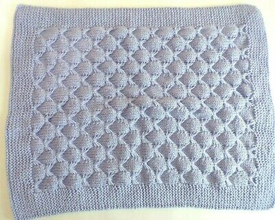 Hand Knitted Baby Blanket 4 ply Lilac wool Beautiful pattern blankets gift