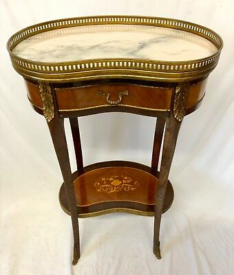 French Marquetry Inlaid Marble Top Bedside Cabinet Lamp Stand Table Gilt Mounts