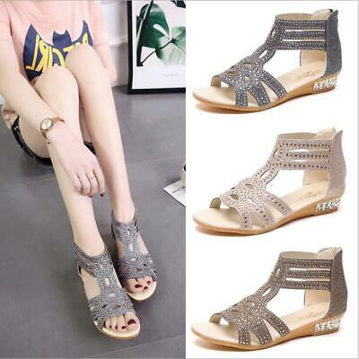 Womens Glitter Rome Cut Out Beach Sandals Ladies T-Strap Diamante Open Toe Shoes