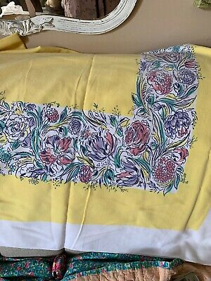 Vintage Simtex Floral Tablecloth.. Buttercup Yellow