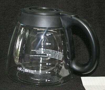 Mr Coffee 12 Cup Replacement Glass Coffee Pot Carafe Decanter Black LID AA86
