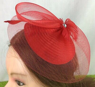 Ladies Fascinator Red Clip Feathers And Beads Special Occasion