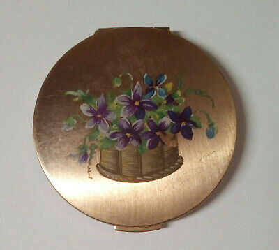 Vintage Stratton Gold Tone 1950's Compact Violets in Basket Star Pattern on Back