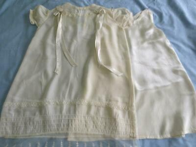 Antique Christening Baptism Ivory Lace Adorned Gown and Satin Slip