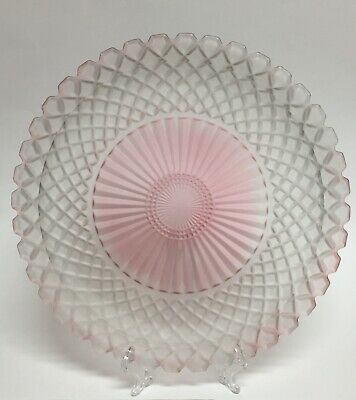 Large Round Centerpiece Frosted Art Glass Platter Tray Pink Fade 14""