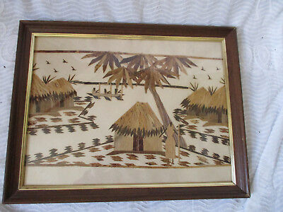 Vintage Marquetry Wood Straw Bamboo Hand-crafted Asian Folk Art Framed Picture